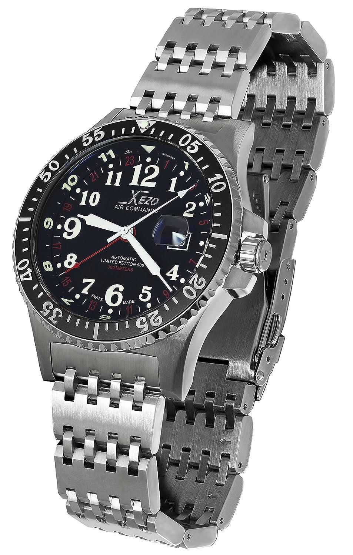 Xezo Air Commando D45-T- Reloj de piloto, suizo, automático, con 3 zonas horarias, resistente al buceo 300 metros: Xezo: Amazon.es: Relojes
