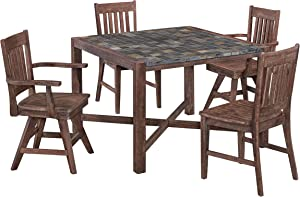 Morocco Dining Set with Square Table, Two Arm Chairs and 2 and Swivel Chairs by Home Styles