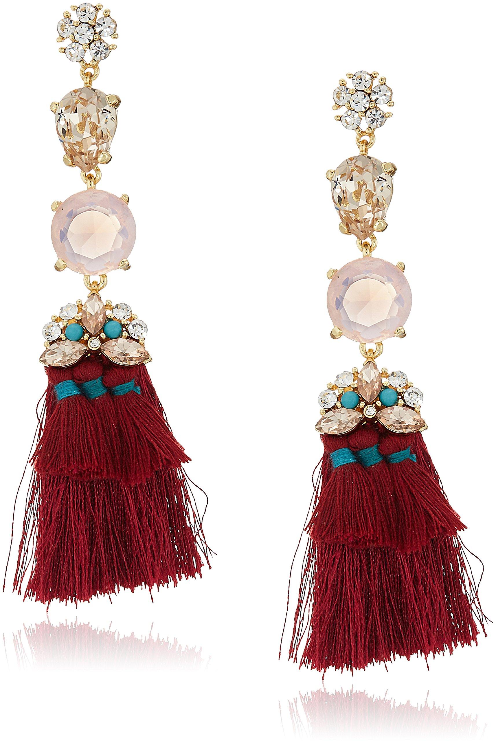 Badgley Mischka Womens Large & Mini Tassel Maroon Gold Tone Drop Earrings, One Size