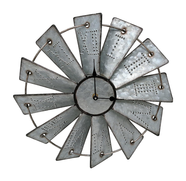 Shop amazon wall clocks giannas home rustic farmhouse metal windmill wall clock 145 amipublicfo Choice Image
