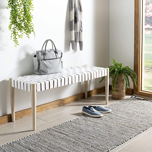 Safavieh Home Amalia 47-inch Off-White and Light Oak Leather Weave Bench