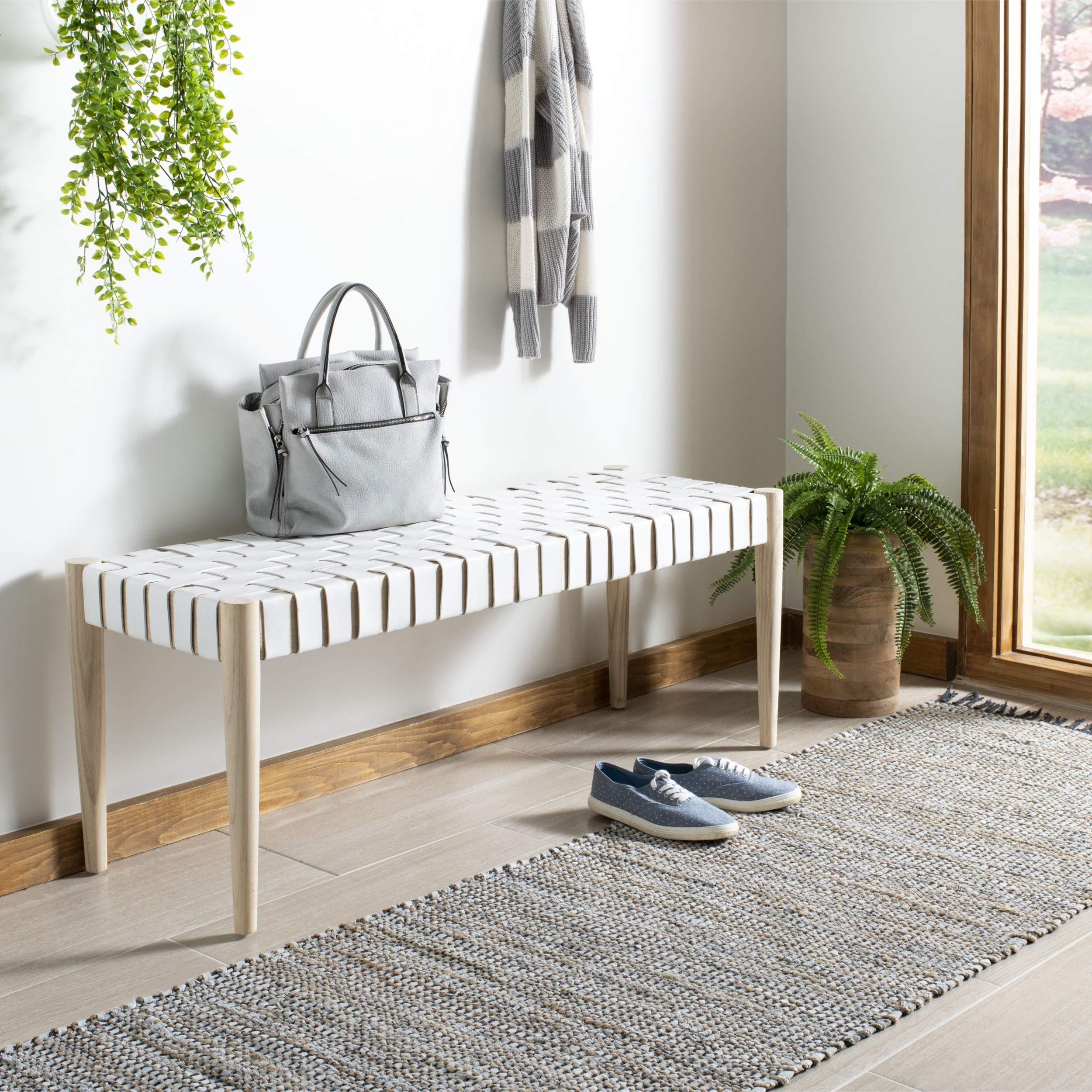 Safavieh BCH1001B Home Collection Amalia Bench, White/Natural