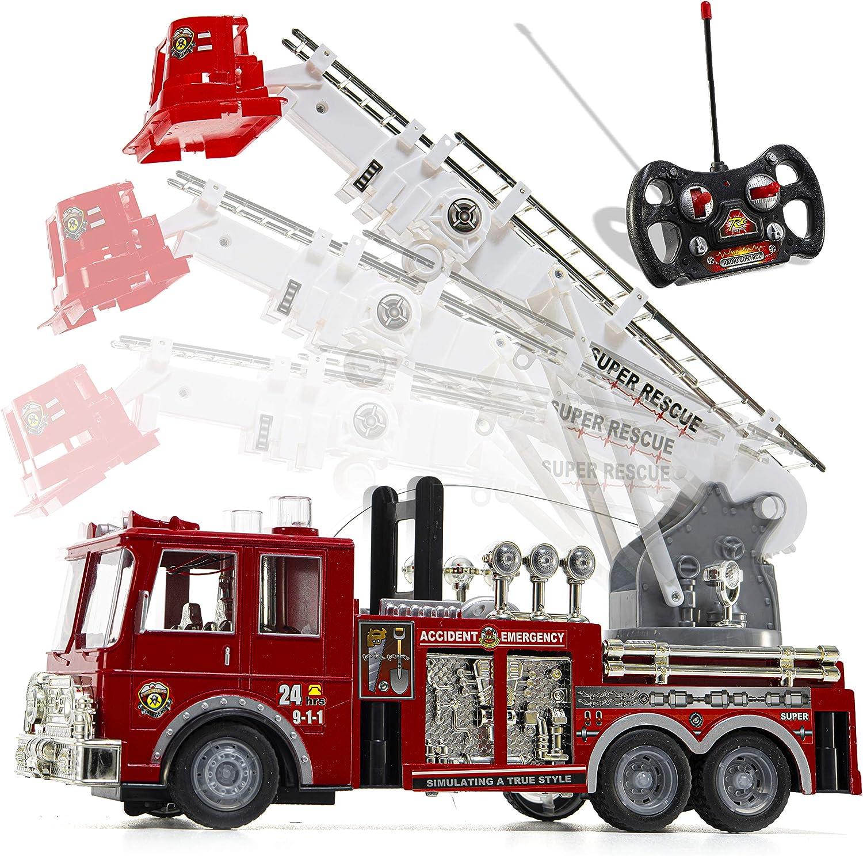 Camión de bomberos de radio control Prextex, con luces, sirena y escalera extensible, 33 cm