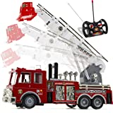 Prextex 13'' Rescue R/c Fire Engine Truck Remote Control Fire Truck Best Gift Toy for Boys with Lights Siren and Extending La