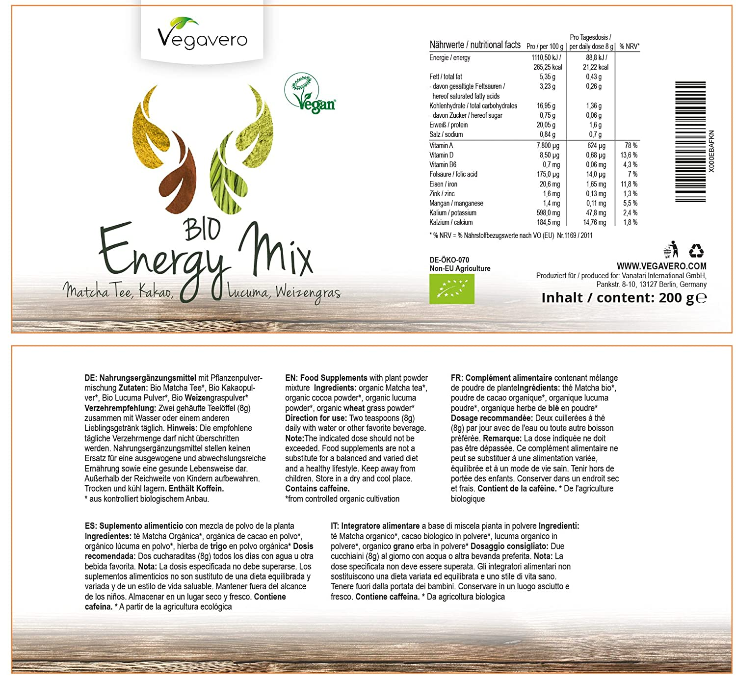 Superfood Energy Mix Orgánico Vegavero® | 200 gr | Matcha ...