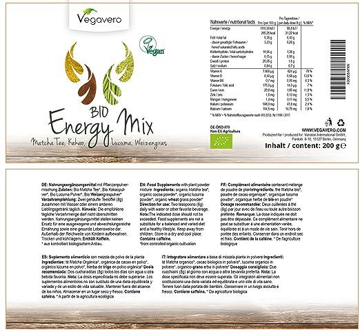 Superfood Energy Mix Orgánico | 200 gr | Matcha, Hierba de Trigo, Cacao, Lucuma | Potenciador de Energía Natural | Antioxidante | 100% Vegano | Vegavero: ...