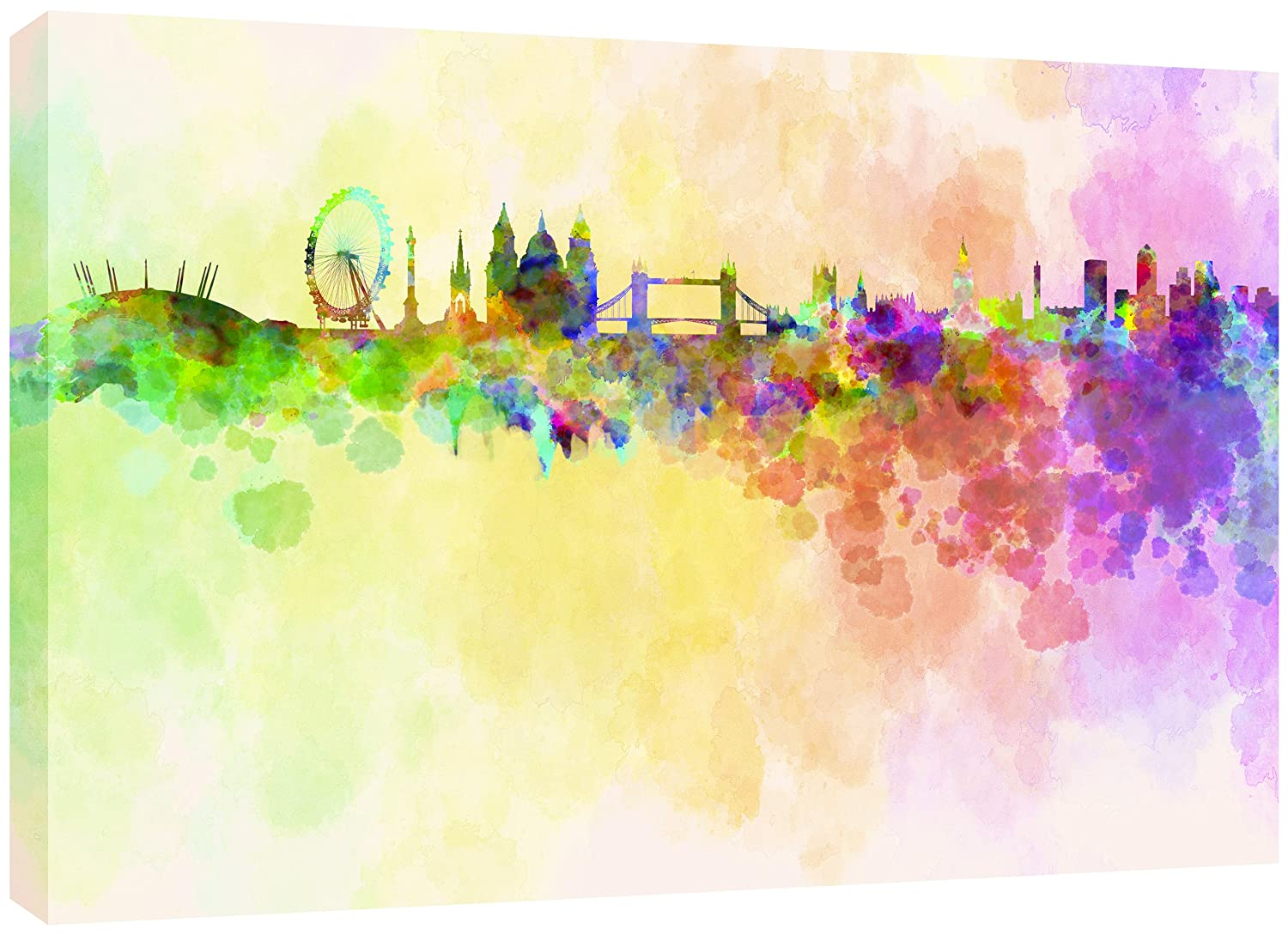 MOOL Large 32 x 22-inch London Skyline in Watercolour Canvas Wall ...