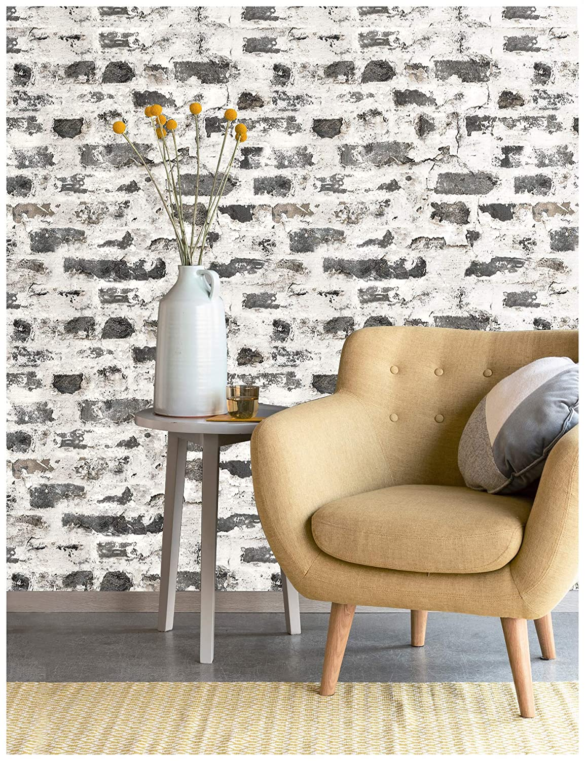 Haokhome 27102 Distressed Faux Brick Wallpaper Whitewash Gray For Home Kitchen Decor 20 8 X 33ft