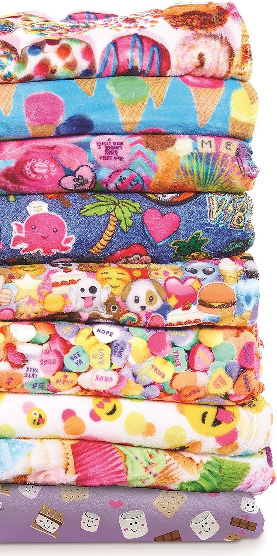 iscream Big Girls Silky Soft Plush Fleece Pants Rainbow Sweets Collection