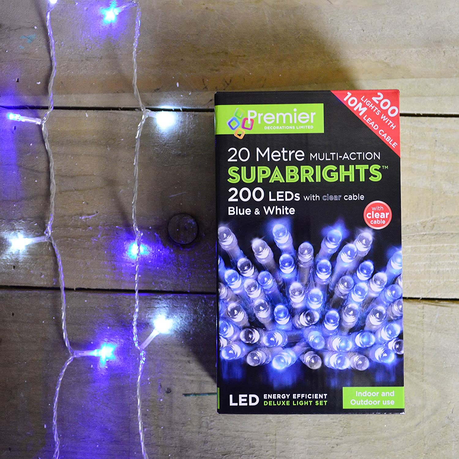 200 LED Multi-Action Supabrights Christmas Lights - Blue & White with Clear Cable Premier