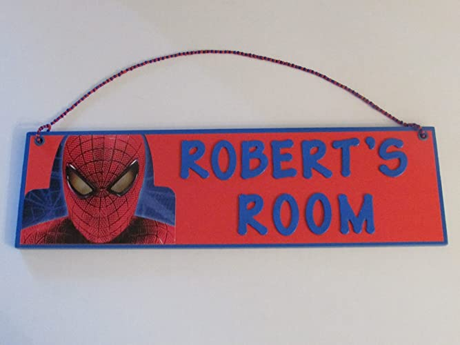 Spiderman Room Name Wall Sign   Personalized Spider Man Boys Room Decor    Spiderman Customized Name