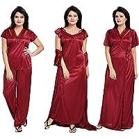Notytm Women's Satin Nighty, Robe, Top, Night Dress - Set of 4(DN 43, Maroon, Free Size)