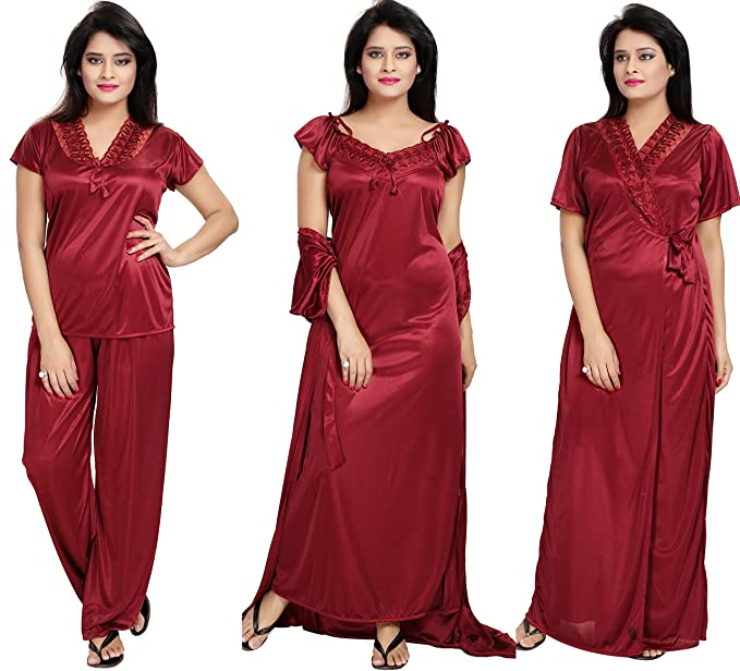 63e685b9cf Notytm Women's Satin Nighty, Robe, Top, Night Dress - Set of 4(DN 43 ...