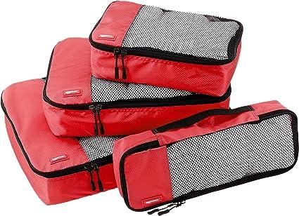 Amazon Basics 4 Piece Packing Travel Organizer Cubes Set, Red