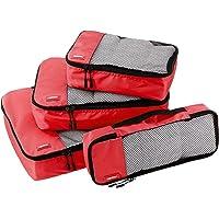 AmazonBasics 4-Piece Packing Cube Set - Small, Medium, Large, and Slim, Red