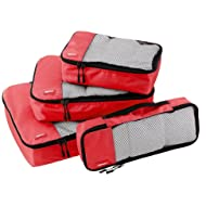 AmazonBasics Packing Cubes - Small, Medium, Large, and Slim (4-Piece Set), Red