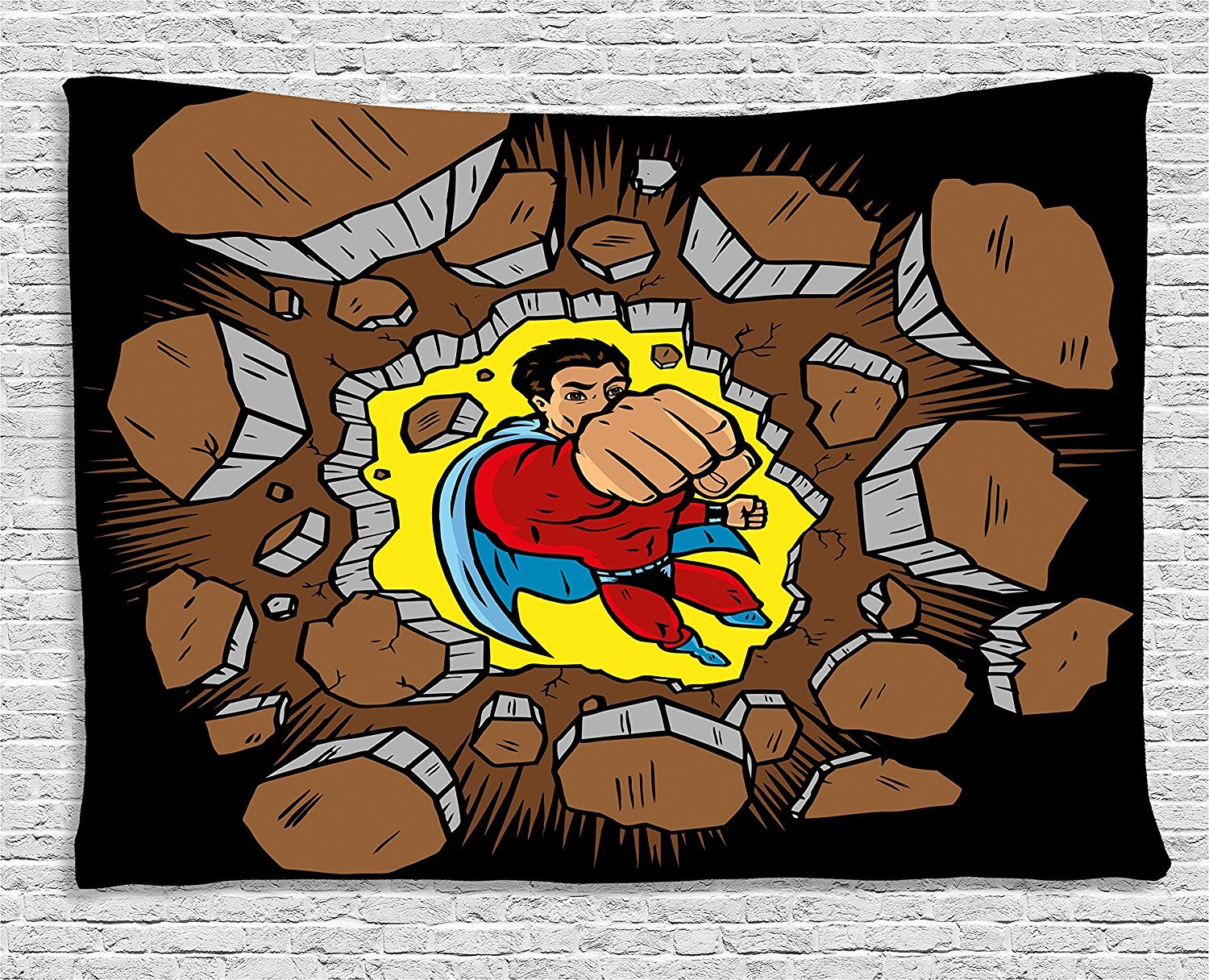 asddcdfdd Superhero Tapestry, Strong Man Smashing the Wall Heroic Punch Success Business Retro Print, Wall Hanging for Bedroom Living Room Dorm, 80 W X 60 L Inches, Caramel Black Yellow