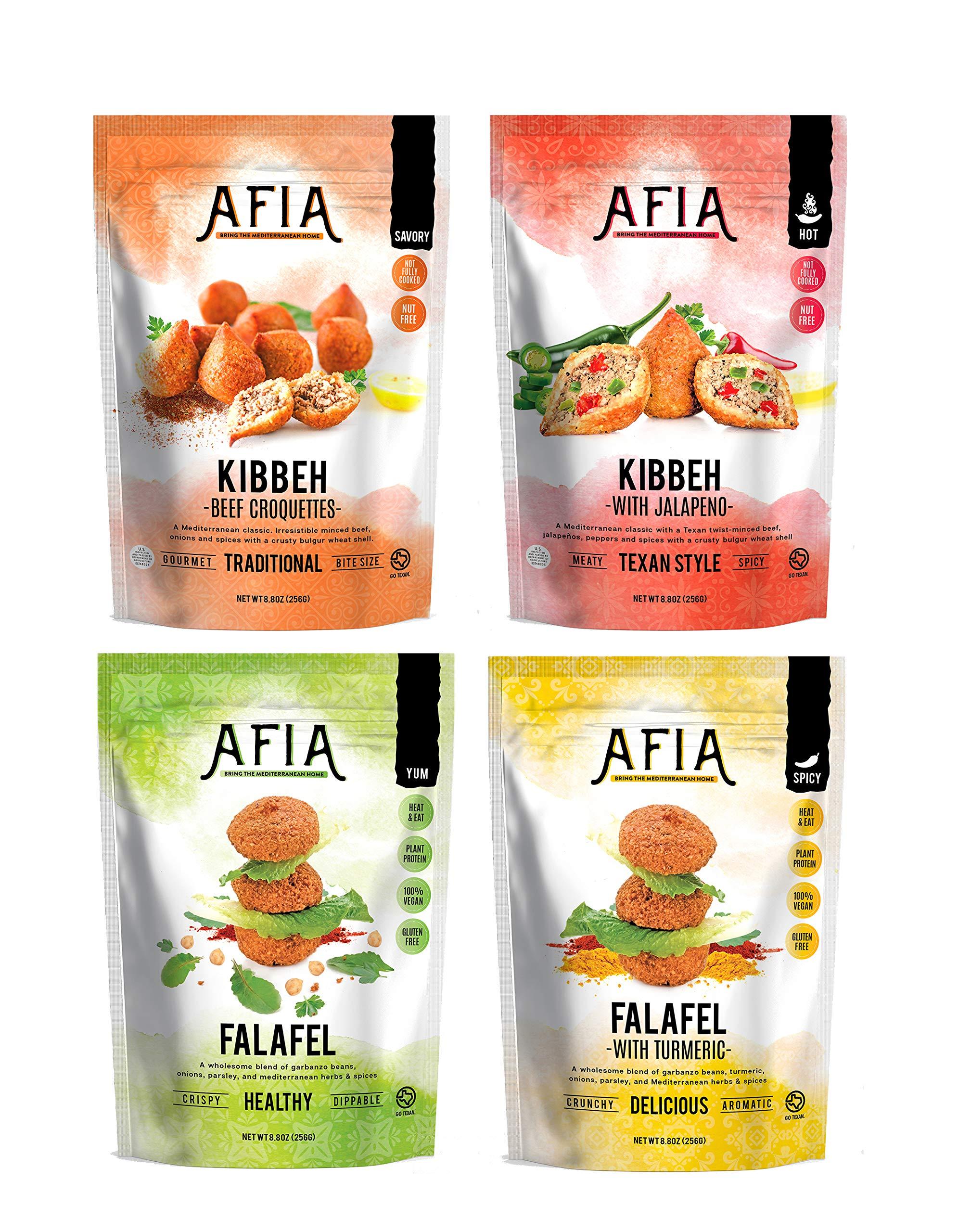 Frozen All Variety Kibbeh & Falafel Bundle - Pack of (10) bags - (approx 70 Falafel count + 40 Kibbeh count) - Just Heat & Eat!