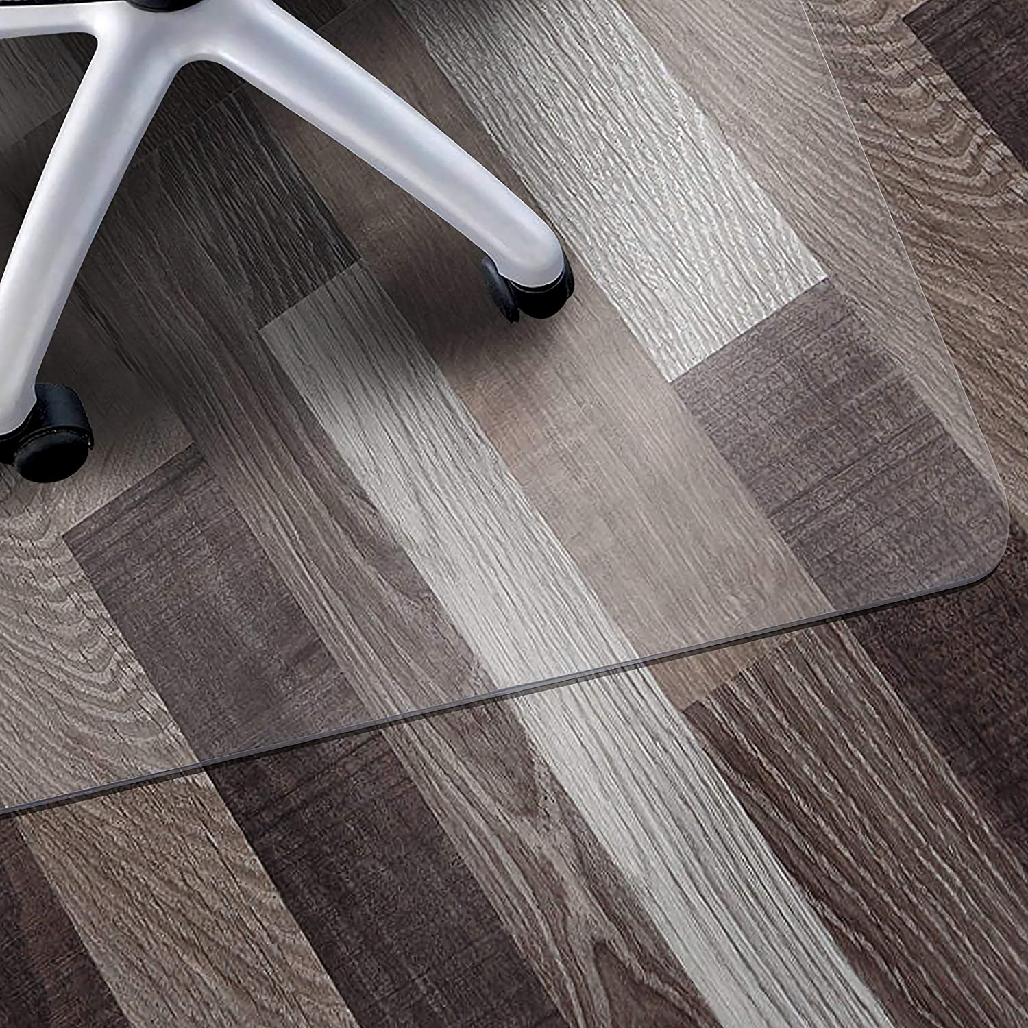 """Office Chair Mat for Hardwood Floor, 36""""x48"""" WASJOYE, Multi Purpose Transparent Thick Clear PVC Tile Cover Floor Protector for Home Office Computer Desk Wooden Floors, Easy Expanded"""