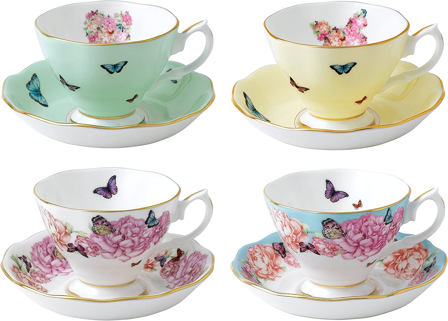 Amazon Com Royal Albert Miranda Kerr Teacups And Saucers Set Of 4 Multicolor Cup Saucer Sets