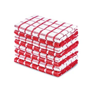 DAILY HOME ESSENTIALS 100% Cotton Terry Dishcloth, Quick Dry Kitchen Rag | Absorbent Cafe, Bar & Restaurant Cleaning WashCloth | 8 Pack 12 x 12 inch - Red