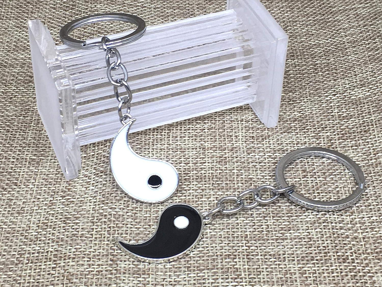 Llavero de Parejas Motivo Yin Yang con Esmalte Negro Blanco ...