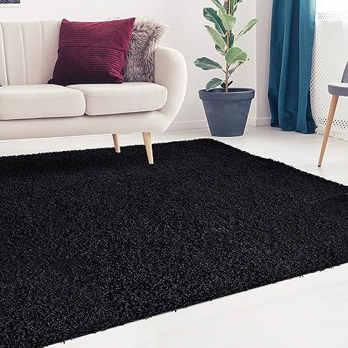 black bedroom rug modern icustomrug cozy and soft solid shag rug 5x7 black ideal to enhance your living room furry rug amazoncom