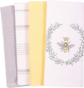 KAF Home Mixed Flat and Terry Printed Dish Towel Set of 4, 100-Percent Cotton, 18 x 28-inch (Bee)
