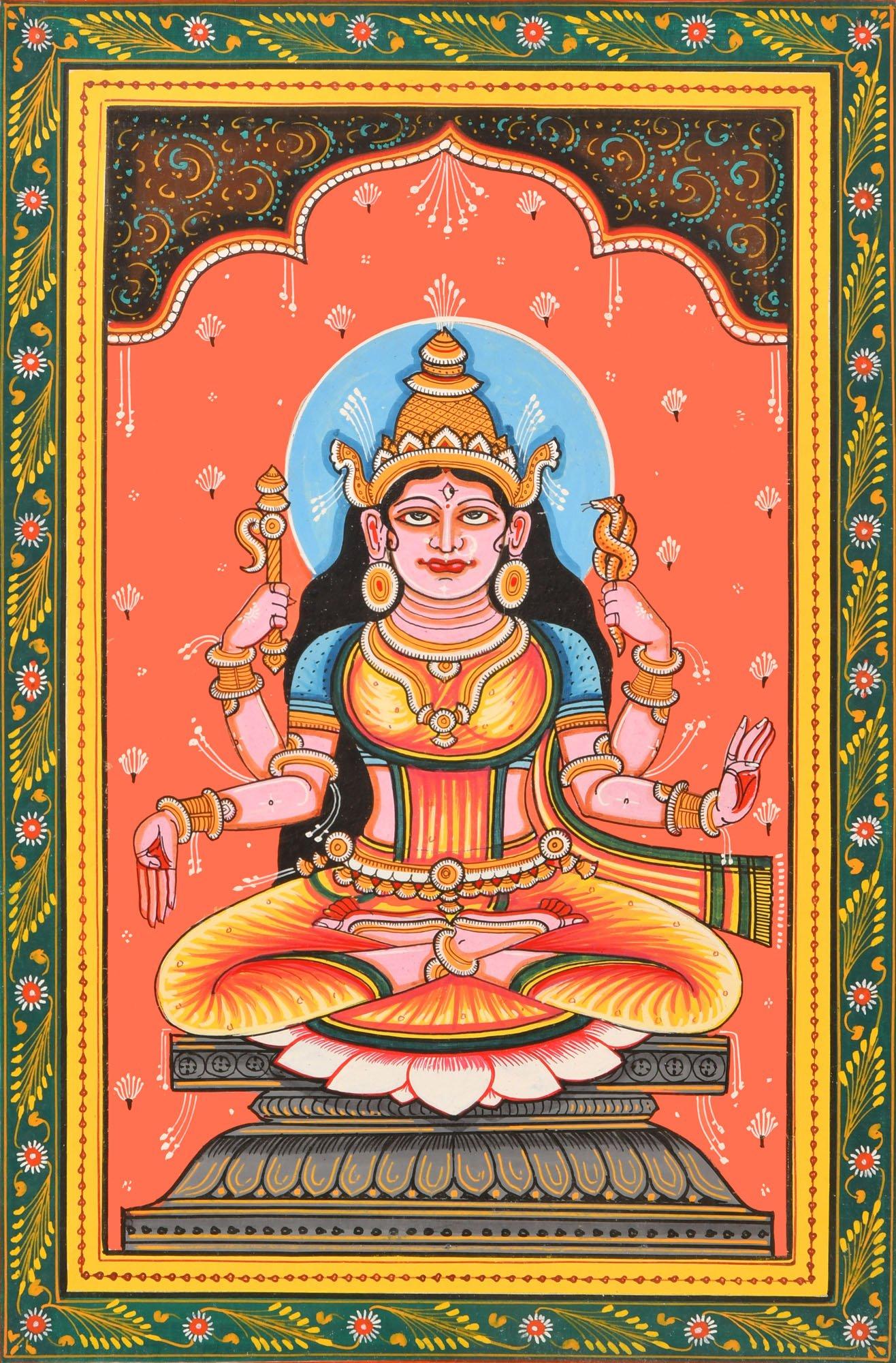 Goddess Bhuvaneshvari (Ten Mahavidyas) - Paata Painting on Patti - Folk Art From The Temple Town Pur