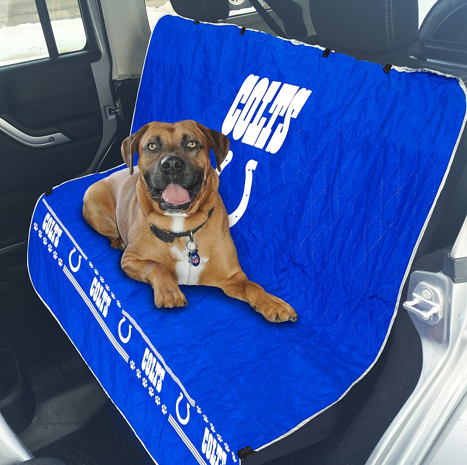 Pets First NFL CAR SEAT Cover Indianapolis Colts Waterproof, Non-Slip Best Football Licensed PET SEAT Cover for Dogs & Cats.