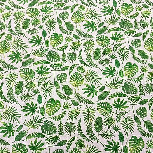 Tela de algodón de Werthers, por Metros, Color Blanco y Verde ...