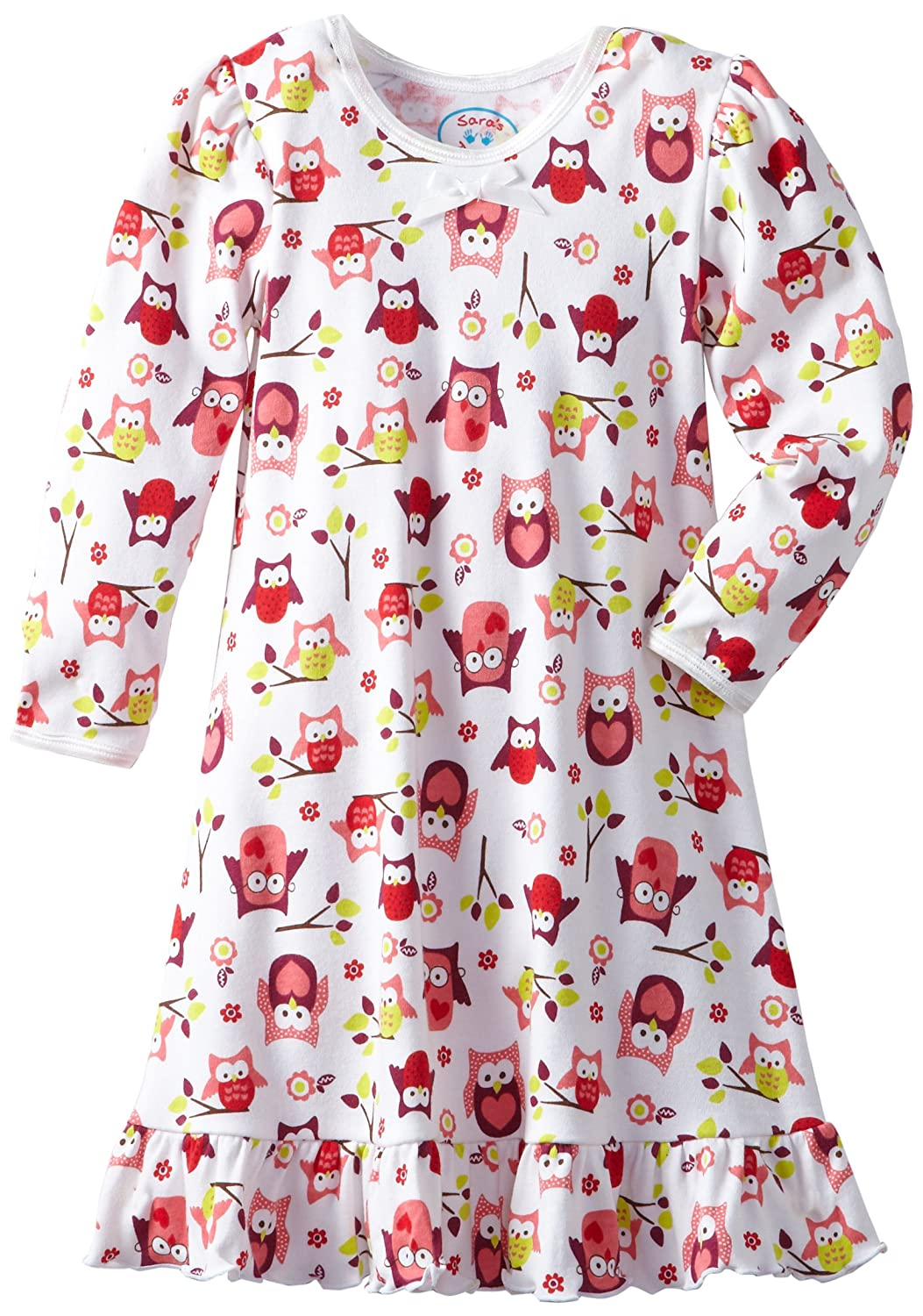 5 Saras Prints Little Girls Puff Sleeve Nightgown Wise Old Owl