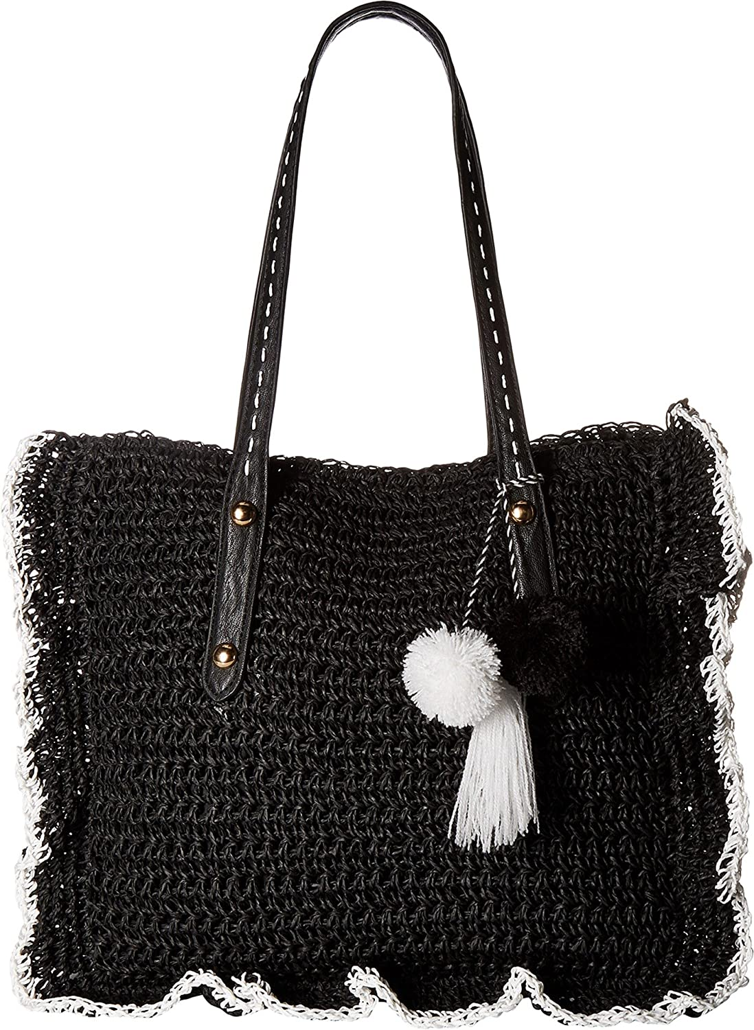 17e55a356c Jessica Simpson Women s Kalie Straw Black White One Size  Handbags   Amazon.com