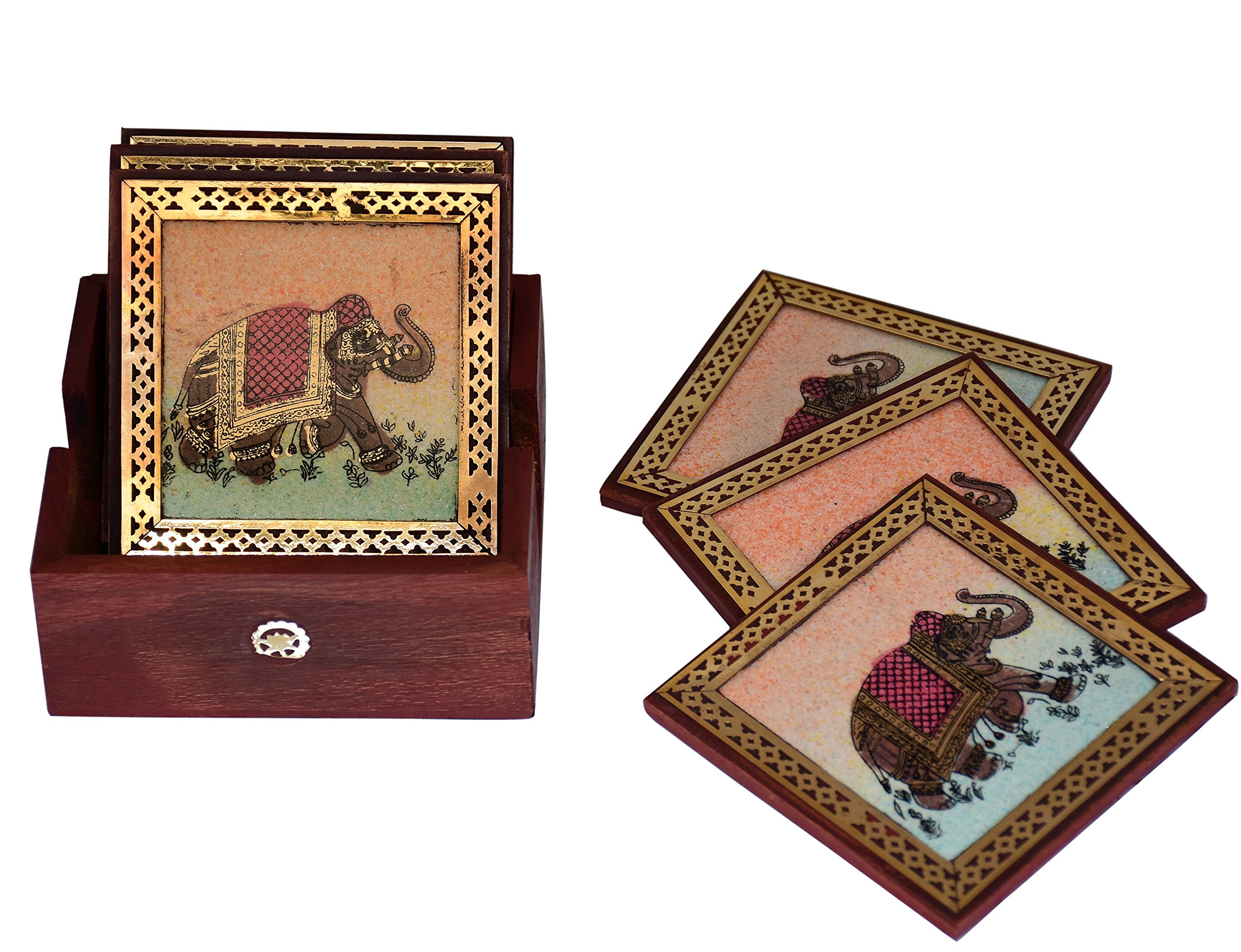 Purpledip Square Coaster Set of 6: Real Gemstone design on Pinewood Indian souvenir(10716)