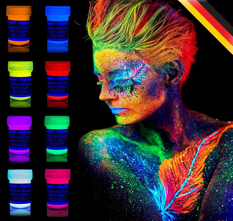 neon nights uv licht bodypainting schminke schwarzlicht k rperfarbe 8 x 20 ml ebay. Black Bedroom Furniture Sets. Home Design Ideas