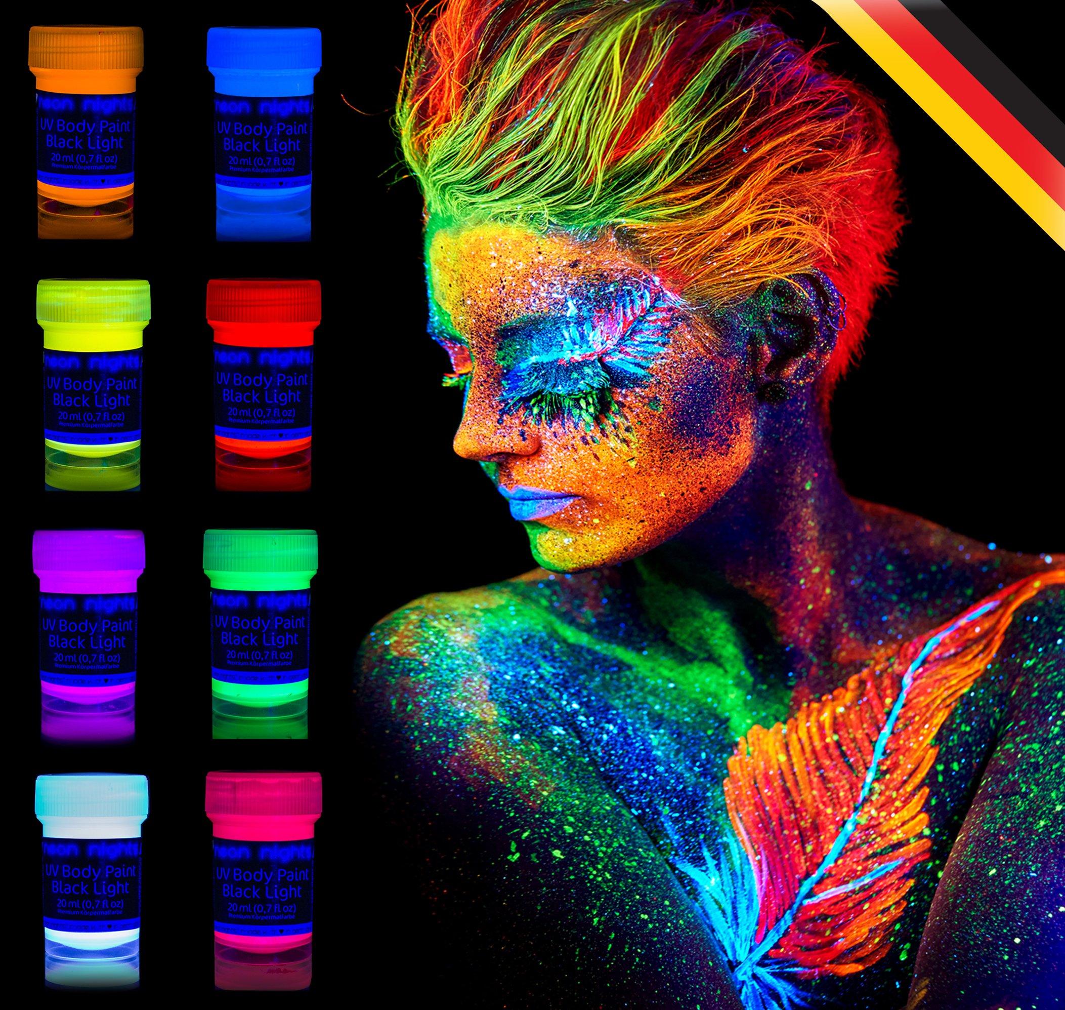 8 x UV Body Paint Black Light Make-Up Bodypainting Neon ...
