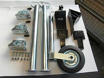 Avb Anhänger Set Stützrad Und Stützfüßen 700 Mm Mit Klemmhaltern Und Unterlegkeilen Schwarz Schrauben Auto