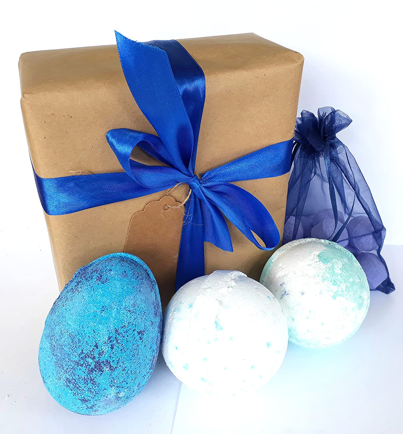 Bath bomb gift box set 2 large Bath bombs, 1 Dragon Egg bath bomb, 10 Mini Chill Pills - Especially for him ~ Treat the man in your life! ~ Ideal birthday, christmas or fathers day gift … (BLUE) ancient wisdom