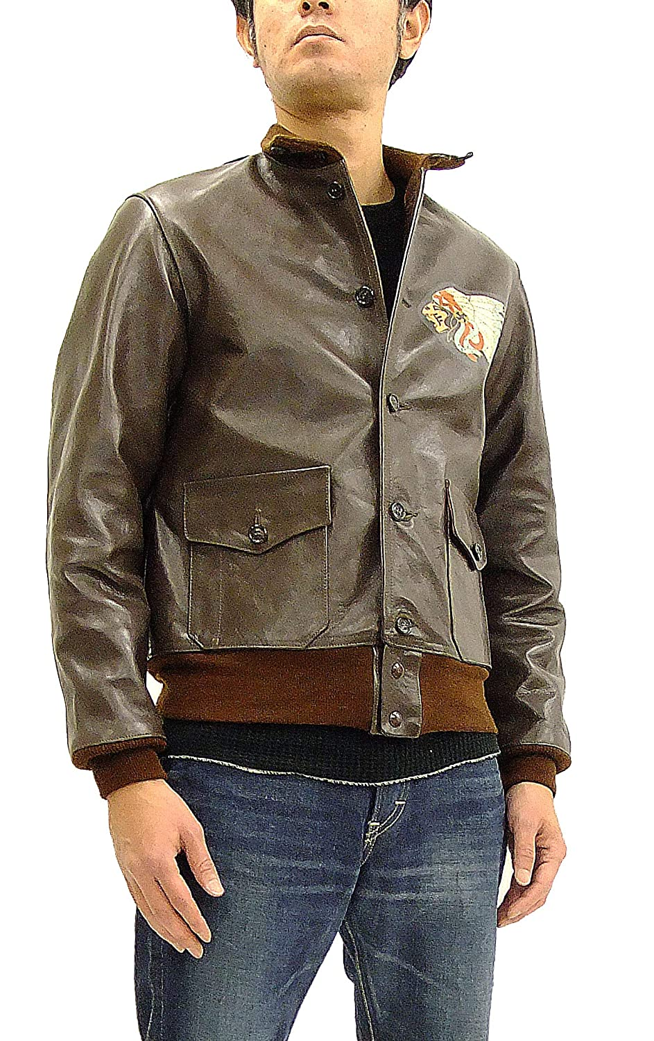 77549e74f TOYS McCOY Men's Printed USAC A-1 Horsehide Leather Flight Jacket ...
