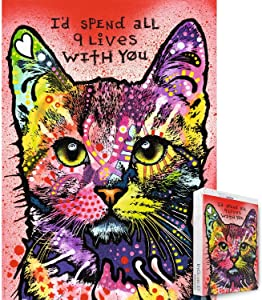 Jigsaw Puzzle 1000 Pieces- Painting Series- Colourful Cat I'd Spend All 9 Lives with You by Dean Russo- for Adult Grown Ups Wooden Puzzles Decoration Toys Puzzle
