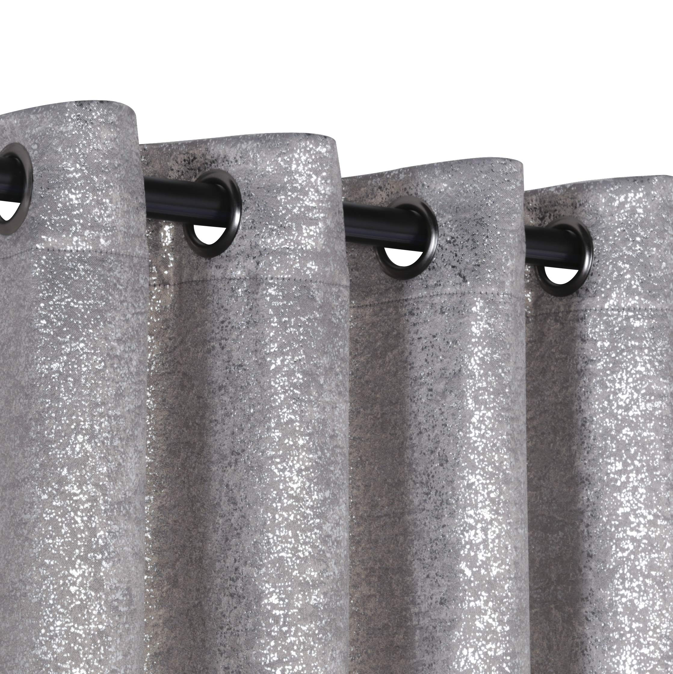 GoodGram 2 Pack Sparkle Chic Thermal Blackout Curtain Panels - Assorted Colors (Grey) by GoodGram