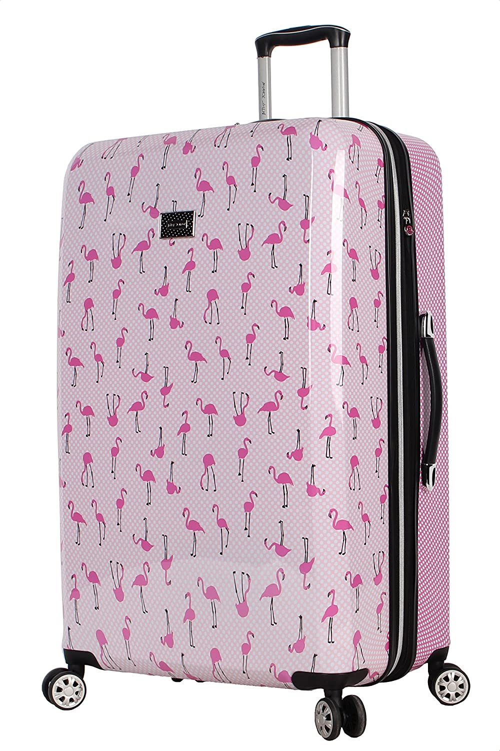 ABS + PC Chevron Hearts Designer Lightweight Bag with 8-Rolling Spinner Wheels Expandable Scratch Resistant Betsey Johnson 30 Inch Checked Luggage Collection Hardside Suitcase