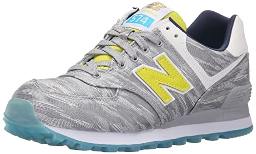 New Balance Mujer WL574 Summer Waves Running Shoe, Silver Mink/Limeade, 40.5 EU: Amazon.es: Zapatos y complementos