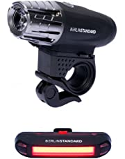 Berlin Standard USB Rechargeable LED Bike Light Set Waterproof Super Bright 300 Lumens Front Light and 100 Lumens Tail Easy Installation Maximum Safety for Night Riders Bicycle Lights