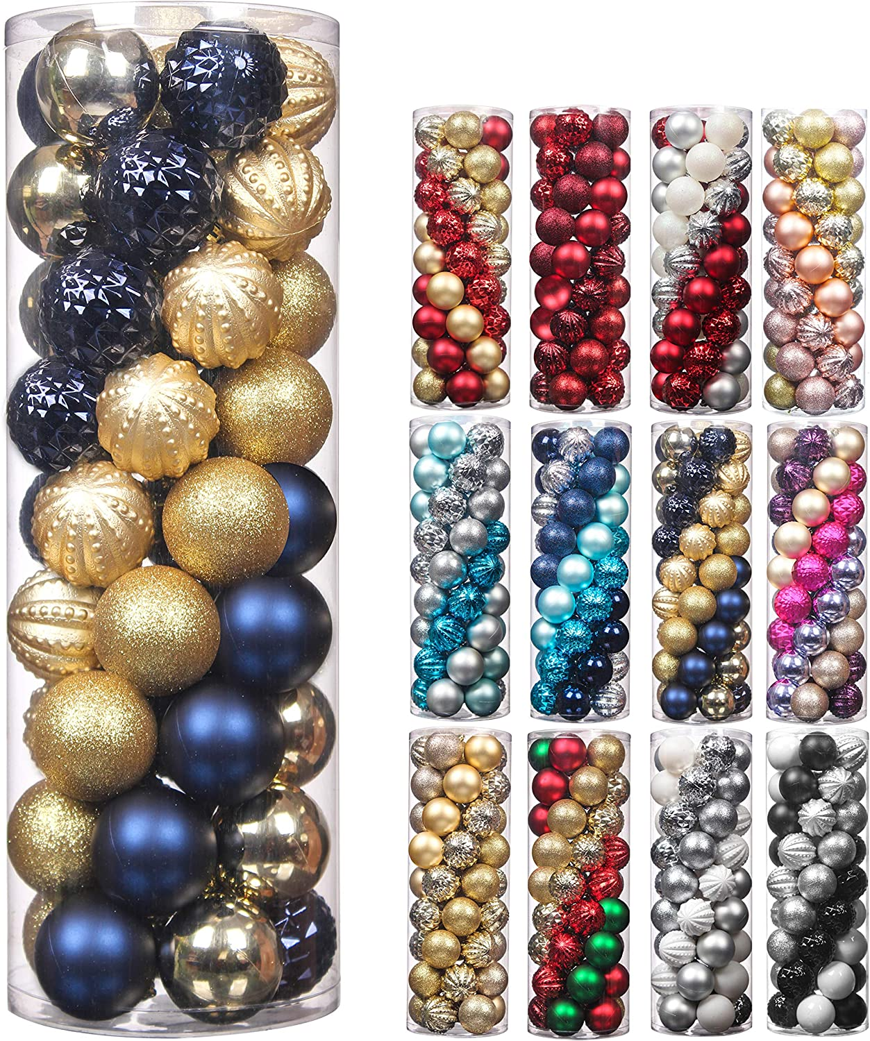 Christmas Balls,45Pcs 2.36inch Glitter Christmas Tree Ornaments Hanging Christmas Home Decorations for Home House Bar Party(Navy/Gold)