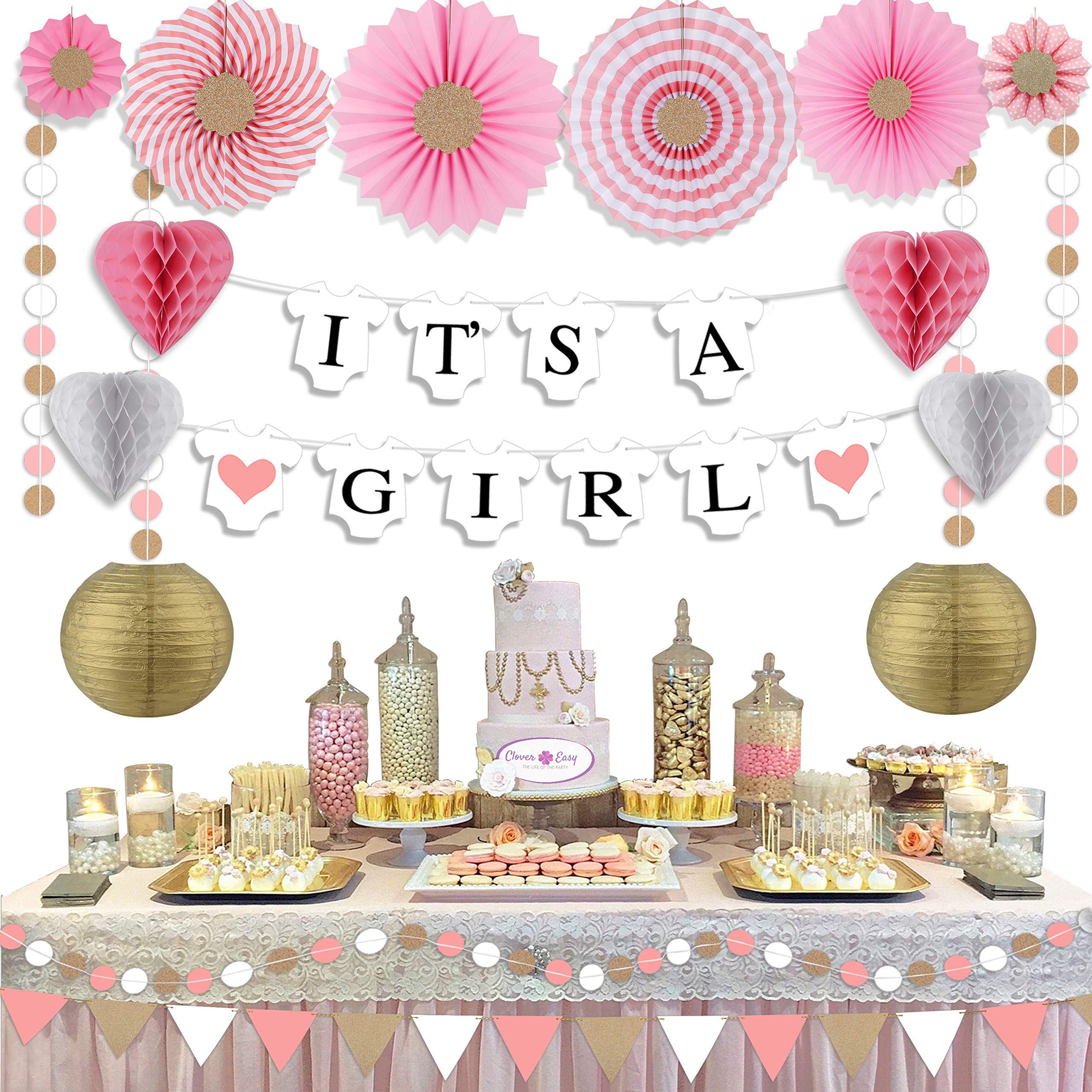 Clover Easy Girl Baby Shower Decorations - with Baby Shower Banner - Its a Girl Banner/Paper Lanterns Decorative/Gold Garland/Pink Garland/Paper Fan Decorations/Bunting Banner/Princess Party Supplies by Clover Easy