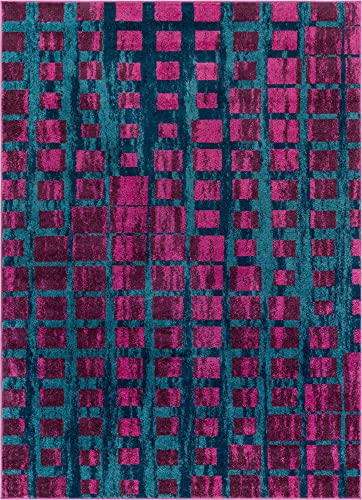Well Woven Modern Geometric 5×7 5 3 x 7 3 Area Rug Casablanca Ombre Squares Boxes Purple Blue Vibrant Abstract Lines Squares Contemporary Thick Soft Plush