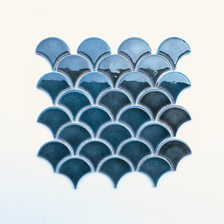 Mandarin Glossy Fan Emerald Crackled Porcelain Mosaic Tile Wall ...