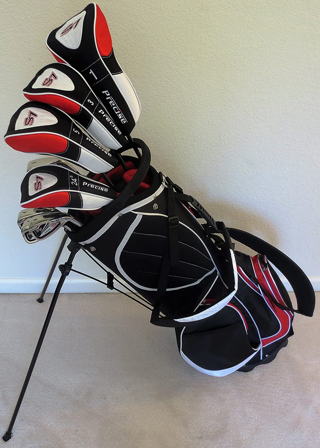 "New Mens Complete Golf Set Custom Made Clubs for Tall Men 6'0""- 6'6"" Tall Right Handed Driver, Fairway Woods, Hybrid, Irons, Sand Wedge, Putter Stiff Flex"