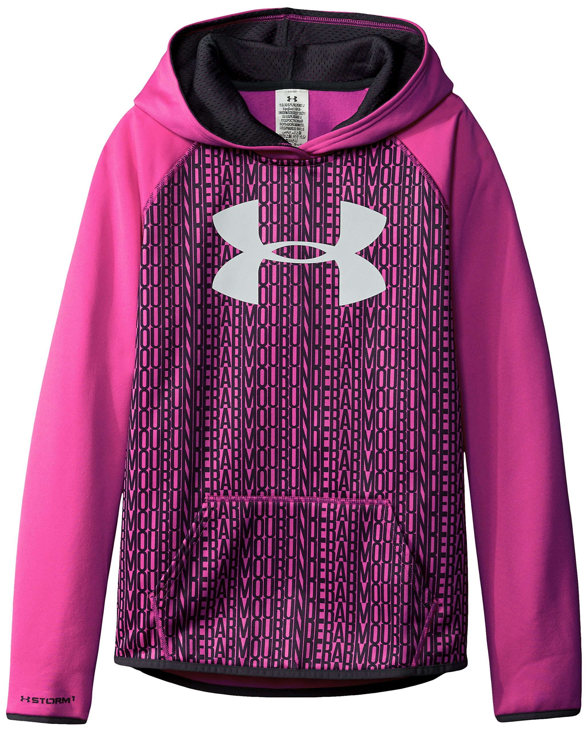 Under Armour Women's Armour Fleece Printed Big Logo Hoodie, Rebel Pink /Rebel Pink, Youth Large by Under Armour